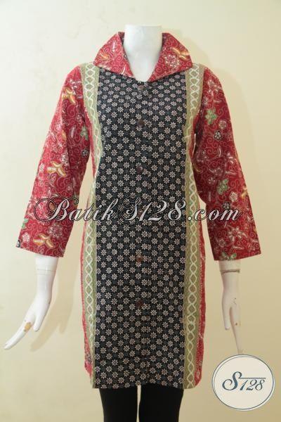 Blus Batik Model Kerah Lebar, Baju Batik Merah Kombinasi Hitam Dengan Tiga Motif, Batik Trendy Pas Buat Jalan-Jalan Dan Pesta, Size L