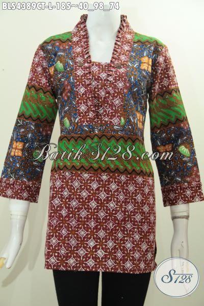 Batik Blus Trendy Desain Mewah Bahan Halus, Jual Pakaian Batik Wanita Karir Untuk Kerja Kantoran Motif Terbaru Proses Cap Tulis Tampil Makin Cantik Alami, Size L