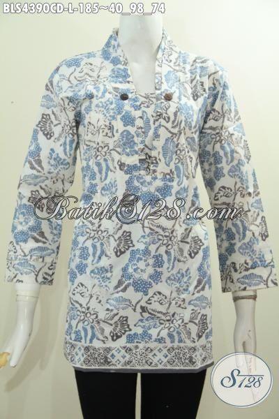 Batik Blus Halus Desain Berkelas Model Resleting Belakang, Baju Batik Modern Warna Kalem Motif Bagus Proses Cap Bledak Tampil Trendy Dan Modis, Size L