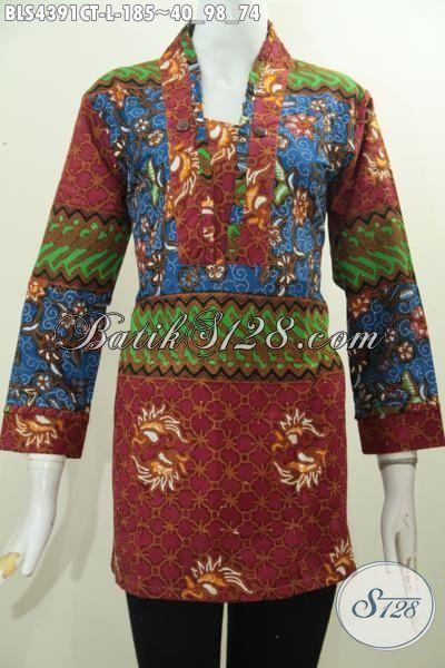 Jual Online Baju Blus Batik Wanita Terbaru, Busana Batik Model Relseting Belakang Bahan Adem Motif Keren Cap Tulis Hanya 185K, Size L