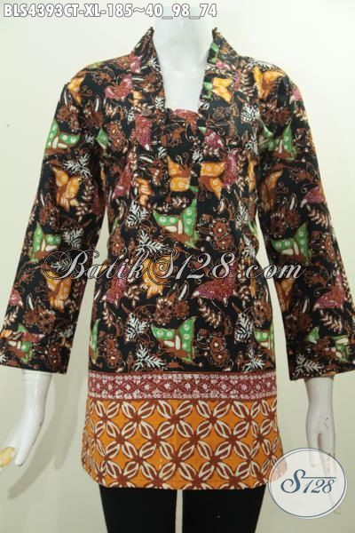 Baju Blus Batik Motif Kupu-Kupu Dengan Desain Mewah Kwalitas Halus, Produk Pakaian Batik Wanita Dewasa Proses Cap Tulis Cocok Juga Untuk Jalan-Jalan, Size XL