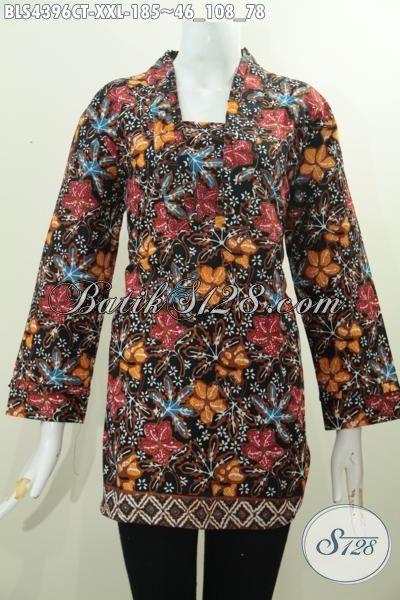 Busana Blus Batik Model Resleting Belakang Buat Wanita Berbadan Gemuk, Baju Batik Modern Motif Bunga Proses Cap Tulis Tampil Gaya Dan Modis, Size XXL