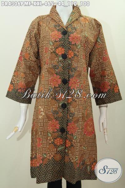 Dress Batik Jumbo Motif Elegan Proses Kombinasi Tulis Baju Batik