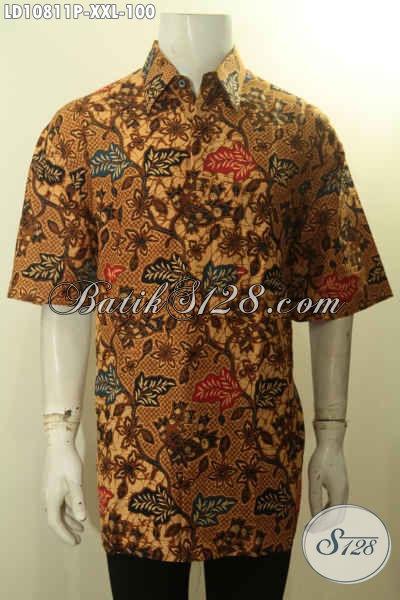 Model Baju Batik Pria Nan Istimewa Lengan Pendek Motif Elegan, Busana Batik Berkelas Proses Printing Bikin Penampilan Pria Gemuk Tampan Dan Gaya, Size XXL