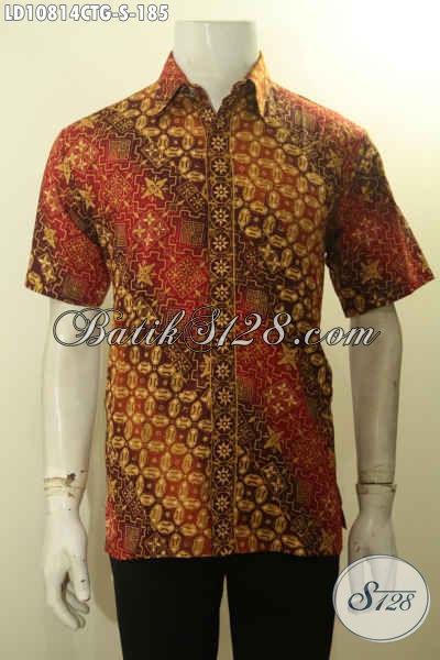 Batik Kemeja Solo Lengan Pendek Halus Bahan Adem, Baju Batik Kerja Pria Terbaru Desain Mewah Proses Cap Tulis Gradasi, Pilihan Tepat Tampil Berkelas, Size S