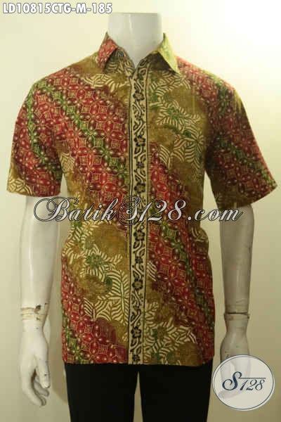 Jual Kemeja Batik Kerja Pria Lengan Pendek Motif Klasik Proses Cap Tulis Gradasi, Pakaian Batik Solo Untuk Pria Terlihat Tampan Berwibawa Hanya 185 Ribu, Size M