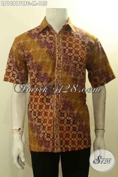 Baju Batik Hem Lengan Pendek Istimewa, Pakaian Batik Solo Berkelas Bahan Adem Motif Klasik Cap Tulis Gradasi Pas Untuk Kerja Dan Acara Resmi Harga 100 Ribuan Saja, Size M