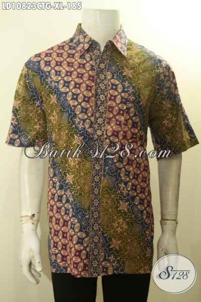 Toko Baju Batik Solo Online Terlengkap, Sedia Kemeja Kerja Pria Lengan Pendek Motif ELegan Cap Tulis Gradasi Bahan Adem, Tampil Terlihat Berkelas, Size XL