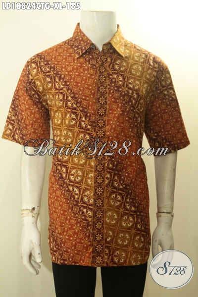 Sedia Kemeja Batik Pria Model Terbaru, Hem Batik Modis Halus Lengan Pendek Motif Elegan Cap Tulis Gradasi Bahan Adem Elegan Buat Ngantor Dan Kondangan, Size XL