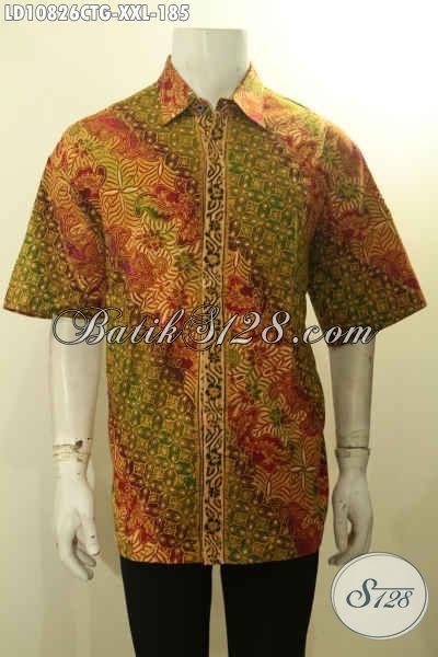 Produk Baju Batik Solo Lengan Pendek Istimewa, Hem Batk Jumbo Halus Motif Klasik Proses Cap Tulis Gradasi, Spesial Untuk Lelaki Gemuk Ukuran XXL