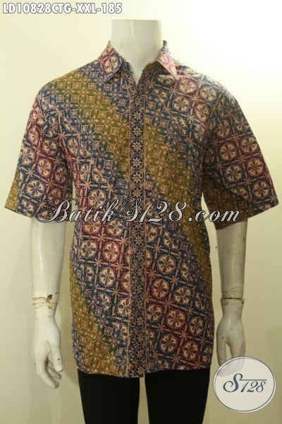 Baju Batik Hem Lengan Pendek Solo Kekinian, Busana Batik Big Size Pria Gemuk Motif Klasik Kwalitas Bagus, Pas Banget Untuk Acara Resmi, Ukuran XXL