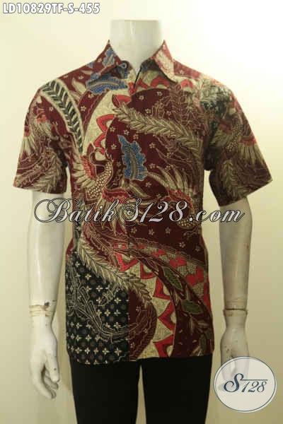 Batik Kemeja Premium Lengan Pendek Untuk Lelaki Sukses, Baju Batik Kerja Elegan Motif Mewah Tulis Asli Daleman Full Furing Harga 455K, Size S