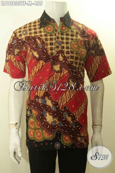 Hem Batik Solo Mewah, Kemeja Batik Pria Muda Ukuran M Lengan Pendek Bahan Adem Motif Mewah Tulis, Asli Untuk Penampilan Lebih Gagah Dan Mempesona