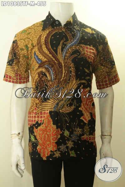 Model Baju Batik Solo Lengan Pendek Motif Bagus Tulis Asli, Pakaian Batik Desain Terbaru Full Furing, Menunjang Penampilan Makin Sempurna, Size M