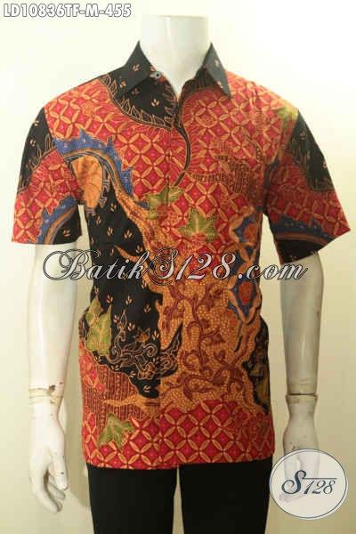 Kemeja Batik Pria Lengan Pendek Istimewa, Busana Batik Solo Halus Full Furing Nan Mewah Khas Jawa Tengah, Bikin Pria Makin Gagah Mempesona, Size M
