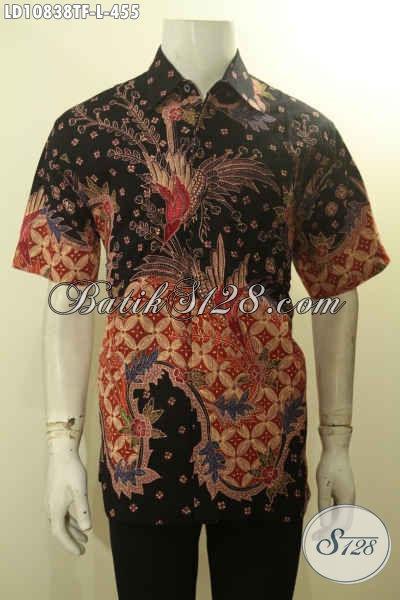 Pakaian Hem Batik Solo Lengan Pendek Elegan Halus Motif Mewah, Baju Batik Model Terkini Untuk Kondangan Daleman Full Furing Harga 455K, Size L