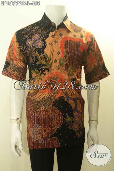 Model Kemeja Lengan Pendek Pria Full Furing Motif Mewah Khas Jawa Tengah, Pakaian Batik Istimewa Untuk Penampilan Lebih Gagah Dan Berkelas Motif Tulis Asli, Size L