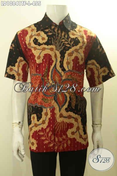 Model Hem Batik Kerja Motif Elegan, Busana Batik Pria Desain Kekinian Untuk Penampilan Rapi Dan Berkelas, Baju Batik Tulis Premium Full Furing Hanya 455K, Size L