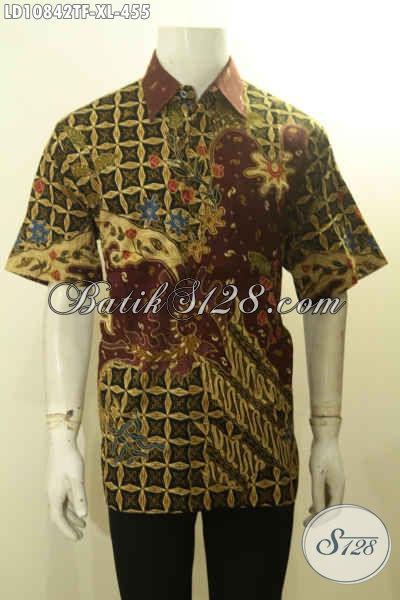 Baju Kemeja Batik Model Lengan Pendek Motif Bagus Dan Mewah, Hem Batik Tulis Solo Premium Pake Furing, Menujang Penampilan Gagah Berwibawa Setiap Hari [LD10842TF-XL]