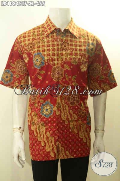 Baju Batik Mewah Halus Lengan Pendek Size XL, Baju Batik Pria Dewasa Bahan Adem Motif Bagus Untuk Penampilan Makin Gagah