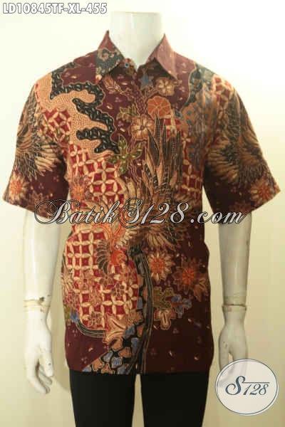 Baju Batik Solo Lengan Pendek Premium Pakai Furing, Kemeja Batik Mewah Untuk Kerja Dan Acara Formal, Bikin Penampilan Tampan Dan Berkelas, Size XL