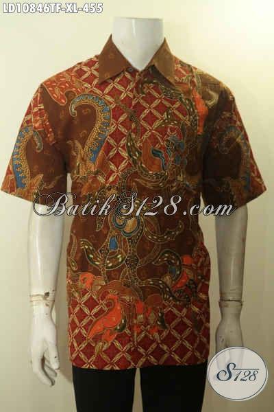 Baju Batik Kerja Pria Terbaru, Hadir Dengan Desain Trendy Motif Bagus Proses Tulis Daleman Full Furing, Bikin Penampilan Lebih Mewah, Size XL