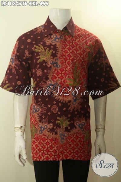 Hem Batik Solo Istimewa Lengan Pendek Full Furing, Pakaian Batik Mewah Motif Bagus Proses Tulis Asli, Bisa Untuk Santai Dan Resmi Hanya 400 Ribuan [LD10847TF-XXL]