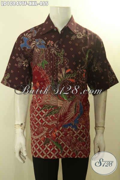 Batik Hem Solo Premium XXL, Busana Batik Berkelas Proses Tulis Motif Kekinian Lengan Pendek Untuk Cowok Gemuk Daleman Full Furing Hanya 455K