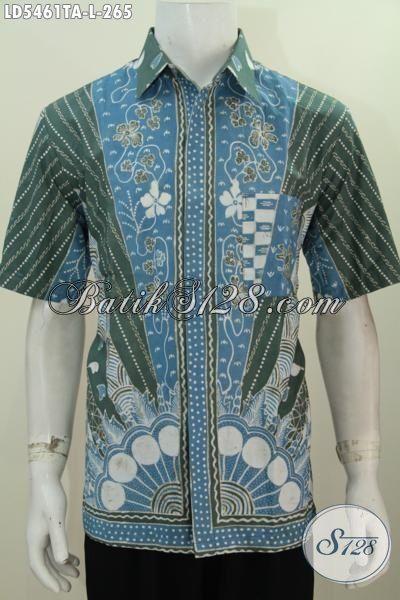 Baju Kemeja Batik Lelaki Model Lengan Pendek, Busana Batik Jawa Etnik Halus Modis Buat Acara Formal Ukuran M Motif Elegan Proses Tlis Warna Alam