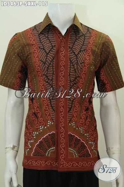 Hem Batik Halus Motif Klasik Warna Elegan Proses Printing, Baju Batik Pria Muda Size S Cocok Buat Acara Formal