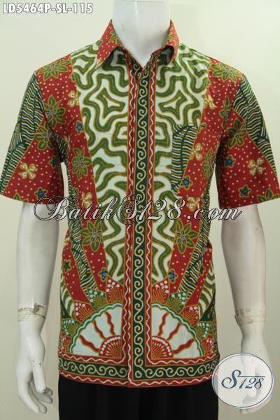 Baju Hem Elegan Proses Printing Motif Klasik Berpadu Warna Bagus Dan Berkelas, Pakaian Batik Lengan Pendek Istimewa Dengan Harga 100 Ribuan