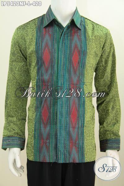 Baju Tenun Full Furing Model Lengan Panjang, Pakaian Tenun Motif Mewah Warna Kalem Biki Cowok Terlihat Gagah Berwibawa, Size L