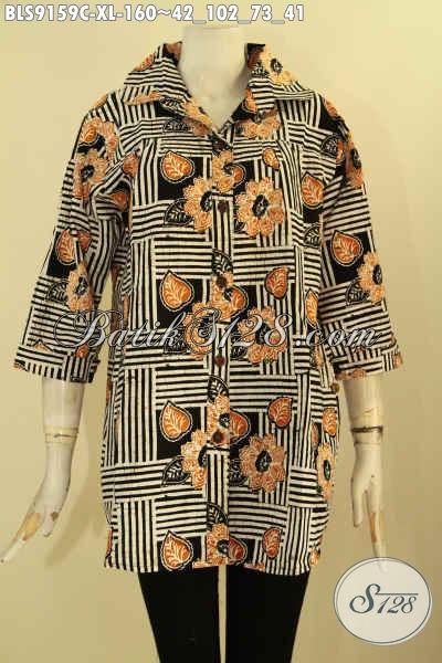 Blouse Batik Wanita Tren Model Kekinian, Baju Batik Solo Asli Motif Bagus Dan Berkelas Model Kerah Istimewa Cocok Untuk Acara Resmi Maupun Seragam Kerja Kantor [BLS9159C-XL]