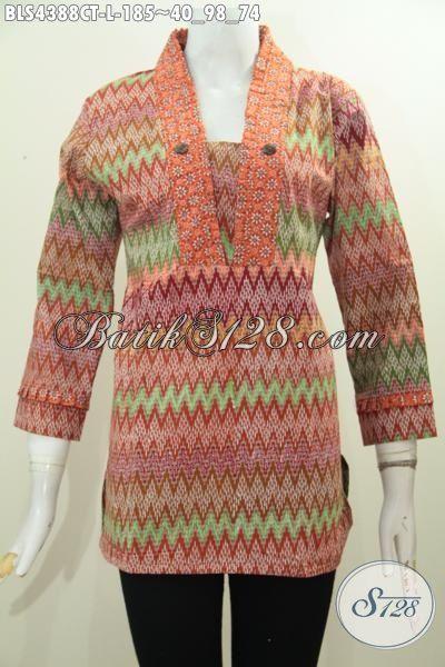 Jual Pakaian Batik Blus Istimewa Buatan Solo Proses Cap Tulis, Busana Batik Motif Modern Dengan Kombinasi Warna Mewah Yang Membuat Cewek Terlihat Anggun Mempesona [BLS4388CT-L]