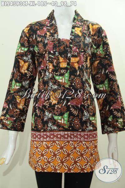 Baju Blus Trendy Motif Kupu, Produk Pakaian Batik Untuk Wanita Karir Model Resleting Belakang Proses Cap Tulis Size Extra Large [BLS4393CT-XL]